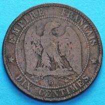 Франция 10 сантимов 1854 год. Монетный двор Руан.