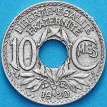 Франция 10 сантимов 1920 год.