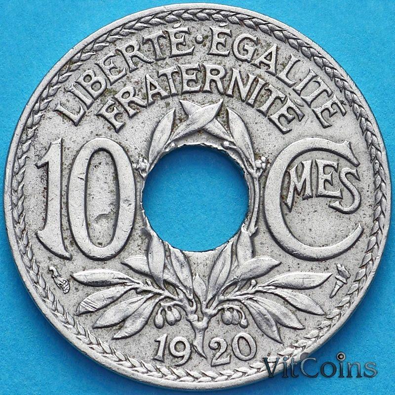 Монета Франция 10 сантимов 1920 год.