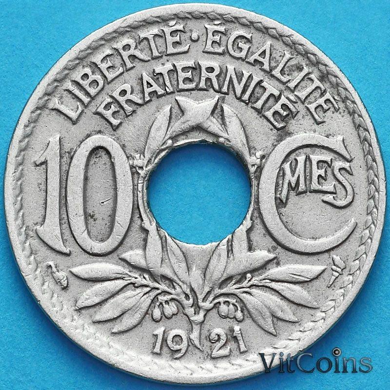 Монета Франция 10 сантимов 1921 год.