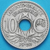 Франция 10 сантимов 1922 год.