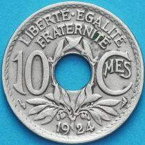 Франция 10 сантимов 1924 год.