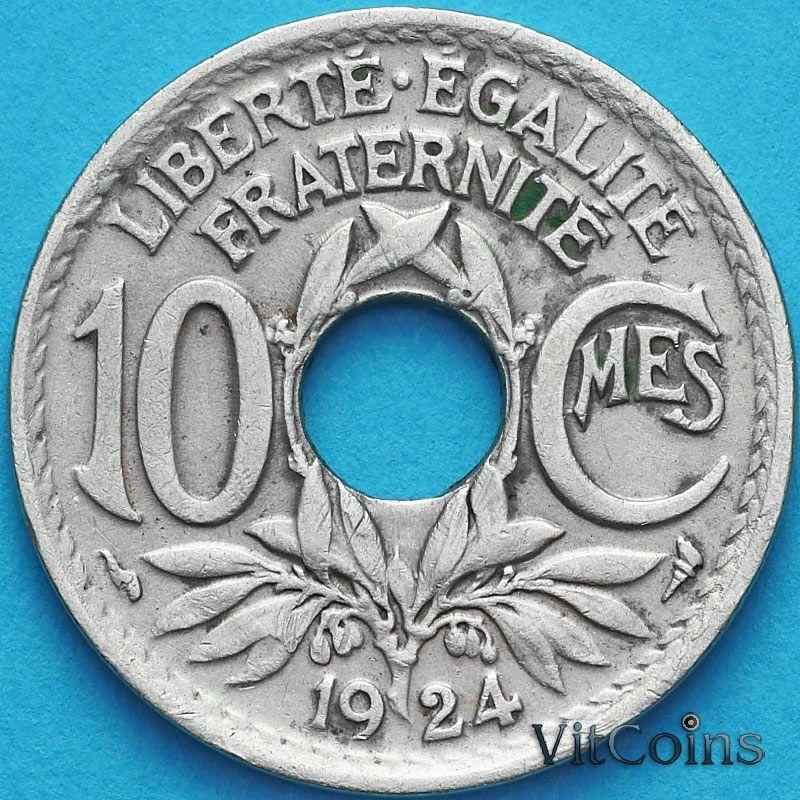 Монета Франция 10 сантимов 1924 год.