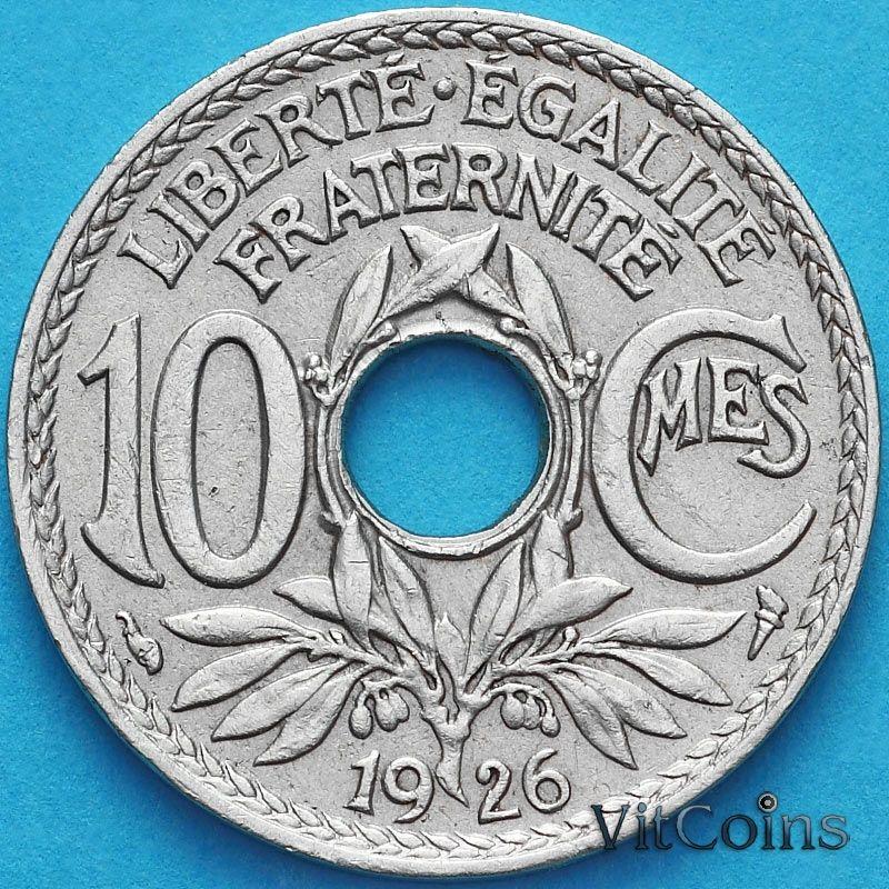 Монета Франция 10 сантимов 1926 год.