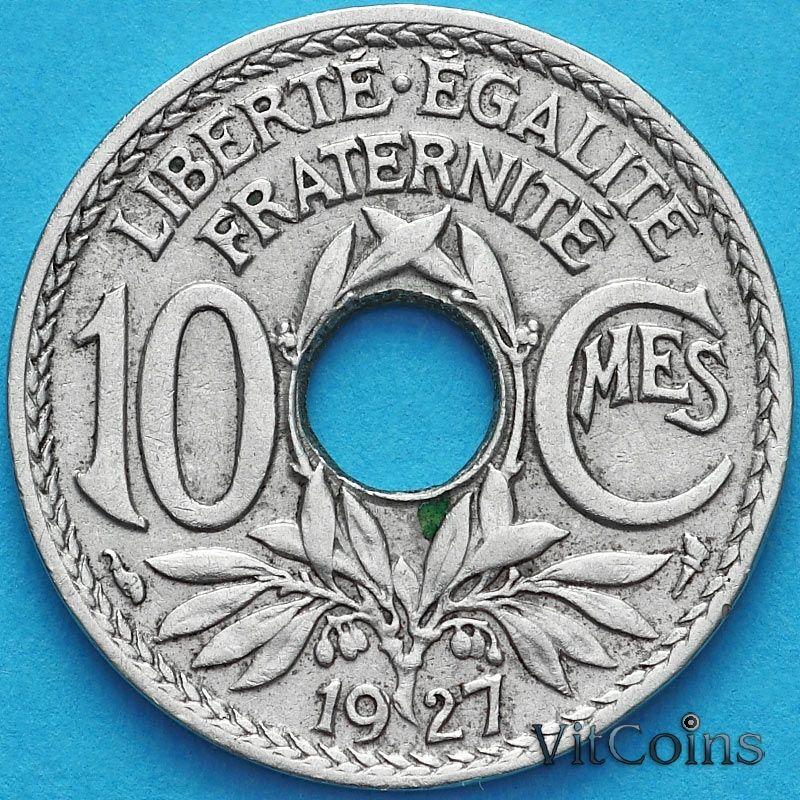 Монета Франция 10 сантимов 1927 год.