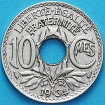 Франция 10 сантимов 1934 год.