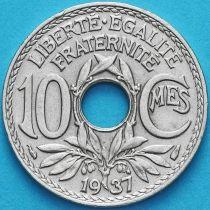 Франция 10 сантимов 1937 год.