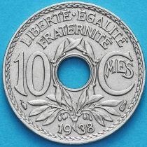 Франция 10 сантимов 1938 год.