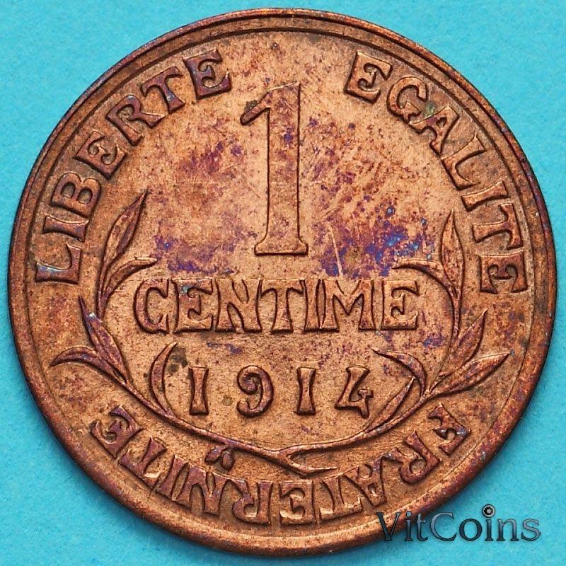 Монета Франция 1 сантим 1914 год.