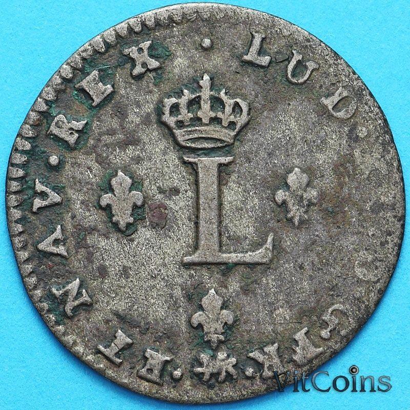 Монета Франция 2 лирда 1739 год. Нант. Брак. Серебро