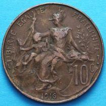 Франция 10 сантимов 1916 год. Монетный двор Мадрид.