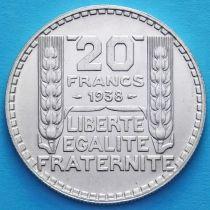 Франция 20 франков 1938 год. Серебро.
