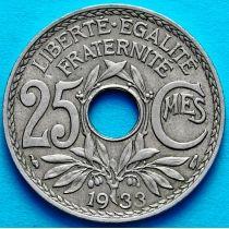 Франция 25 сантимов 1933 год.