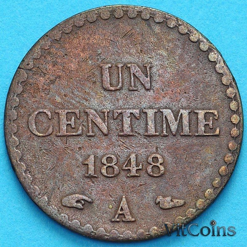 Монета Франция 1 сантим 1748 год.