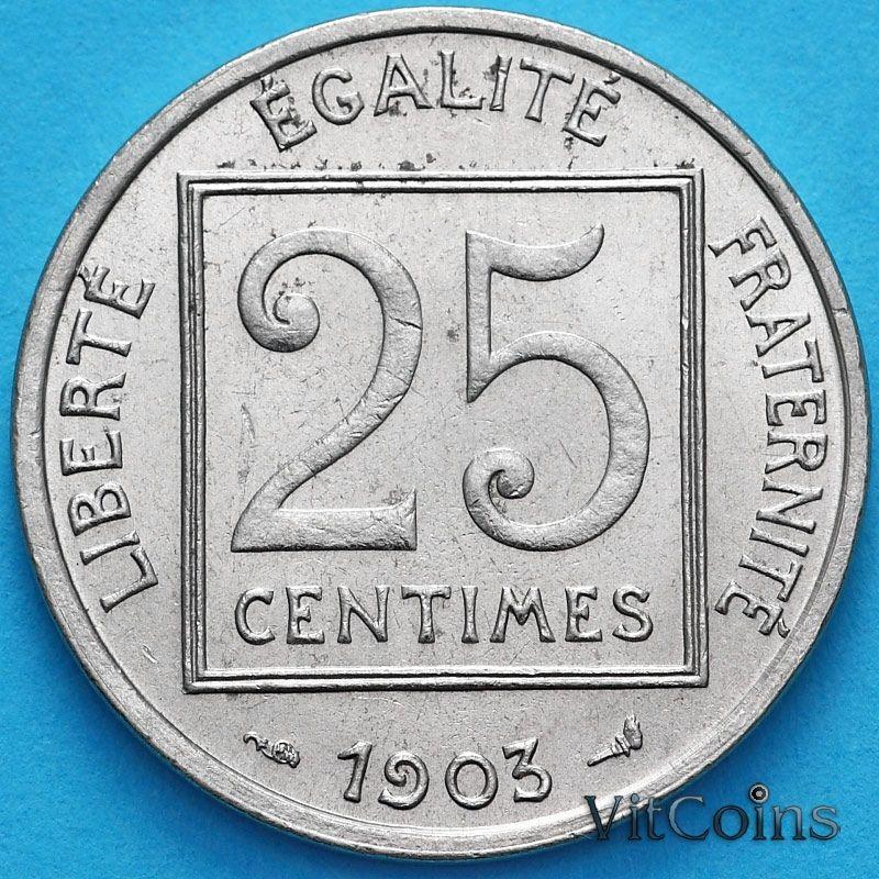 Монета Франция 25 сантимов 1903 год. XF