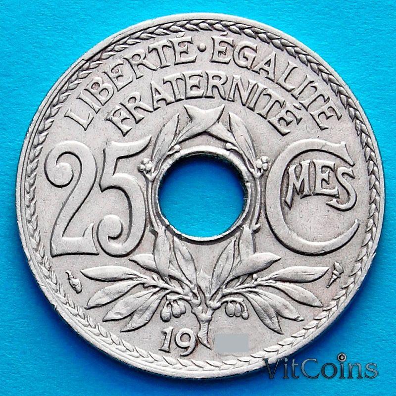 Монета Франция 25 сантимов 1922 год.