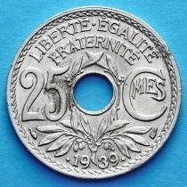 Франция 25 сантимов 1938-1939 год.