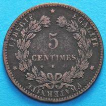 Франция 5 сантимов 1872 год. Монетный двор Бордо.