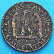 Франция 5 сантимов 1854 год. Монетный двор Париж.