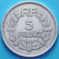 Франция 5 франков 1945 год. Монетный двор Бомон-ле-Роже.