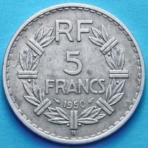 Франция 5 франков 1950 год. Монетный двор Бомон-ле-Роже.
