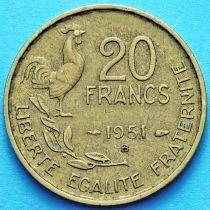 Франция 20 франков 1950-1953 год. Монетный двор Бомон-ле-Роже