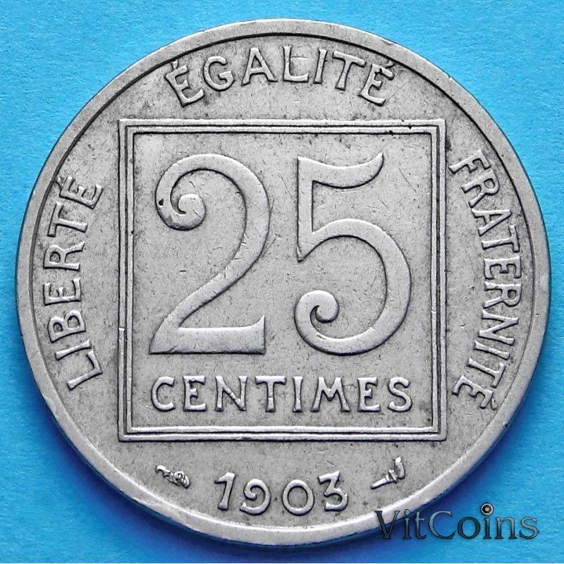 Франция 25 сантимов 1903 год. VF