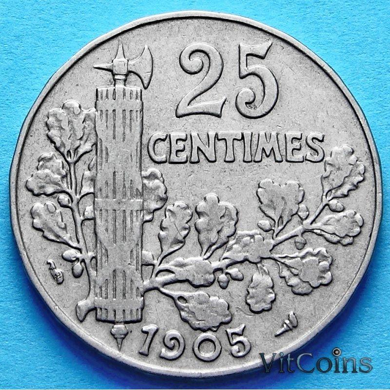 Монета Франция 25 сантимов 1905 год.