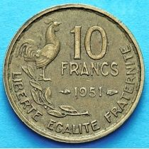 Франция 10 франков 1950-1959 год. Монетный двор Париж.