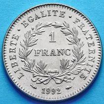 Франция 1 франк 1992 г. 200 лет Французской Республике