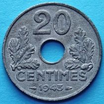 Франция 20 сантимов 1942, 1943 год. Тонкая монета.