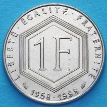 Франция 1 франк 1988 год. 30 лет Пятой Республике