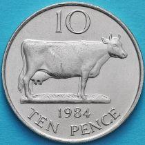 Гернси 10 пенсов 1984 год. Корова.