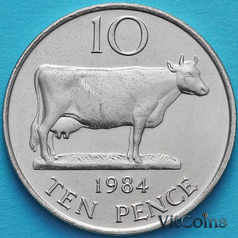 Лот 10 монет. Гернси 10 пенсов 1984 год.