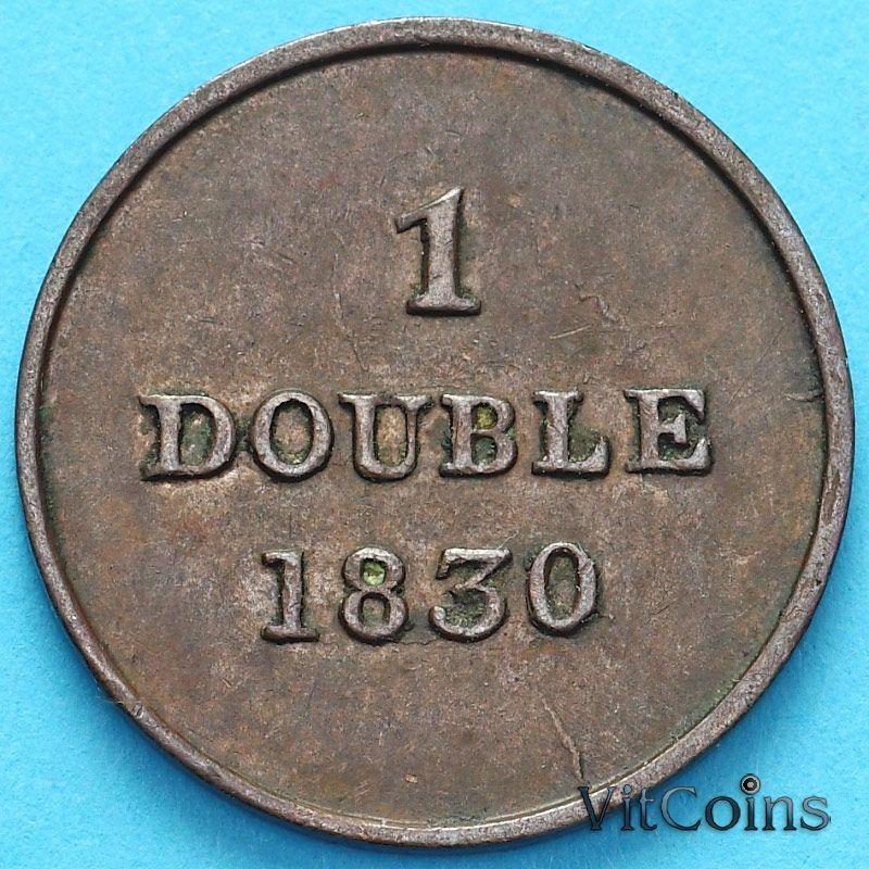Монета Гернси 1 дубль 1830 год.