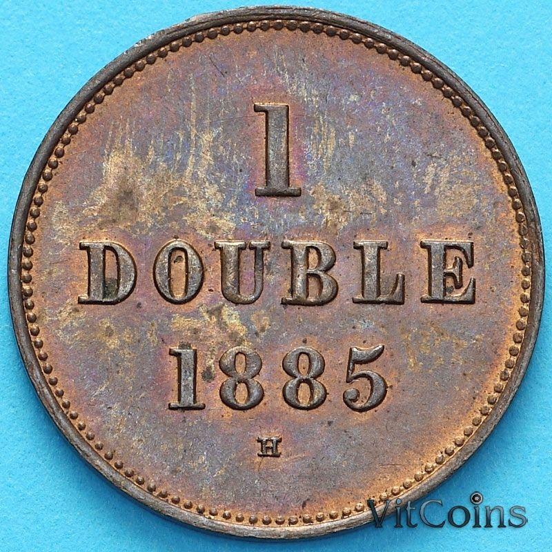 Монета Гернси 1 дубль 1885 год.