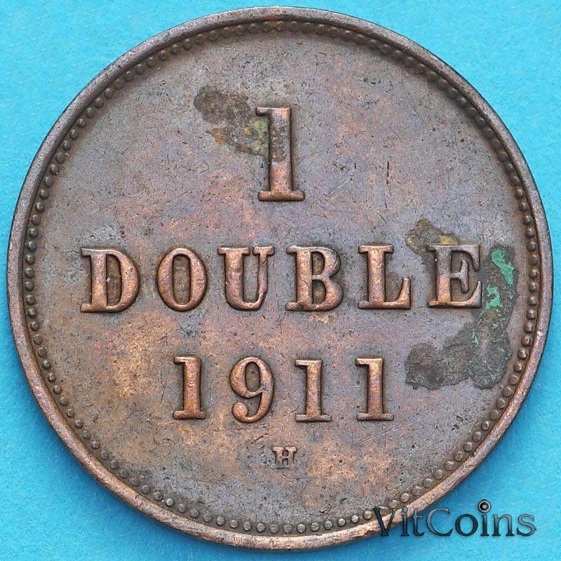 Монета Гернси 1 дубль 1911 год.