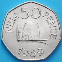 Гернси 50 пенсов 1969 год. Шляпа герцога Нормандии.