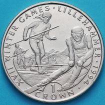 Гибралтар 1 крона 1993 год. Олимпиада, лыжные гонки.