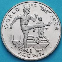 Гибралтар 1 крона 1994 год. ЧМ по футболу. Игрок бьет ногой.
