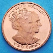 Гибралтар 2 пенса 2007 год. Юбилей свадьбы.