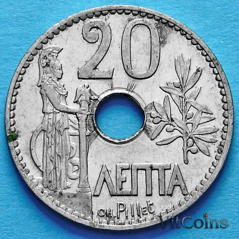 Монета Греции 20 лепт 1912 год. Богиня Афина.
