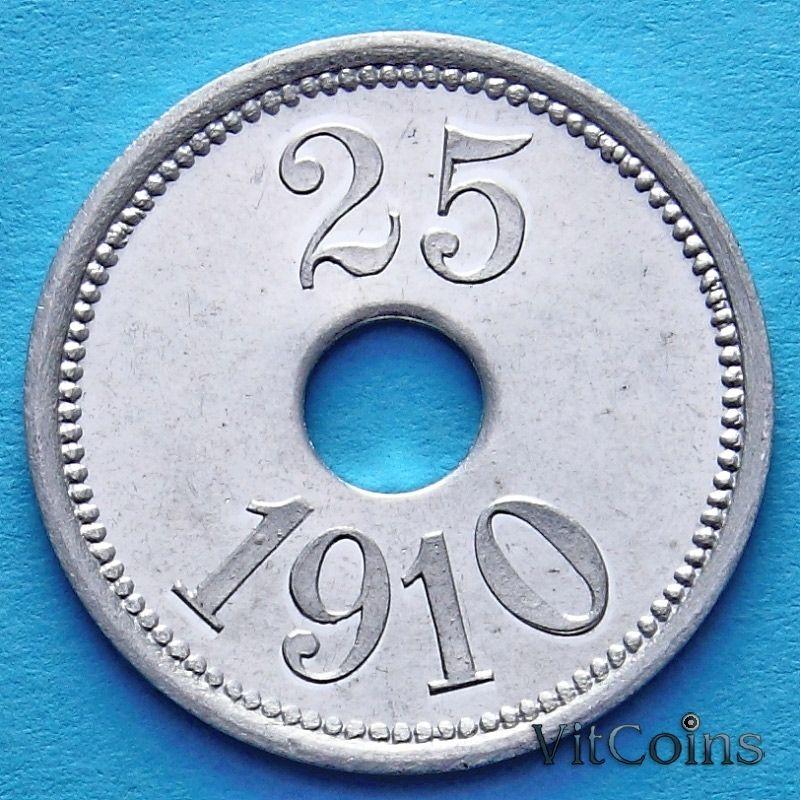 Монета Гренландии 25 эре 1910 год.