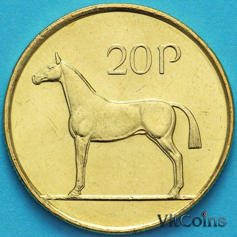 Монета Ирландия 20 пенсов 1999 год. Ирландская охотничья лошадь. UNC