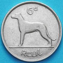Ирландия 6 пенсов 1939 год. Ирландский волкодав.