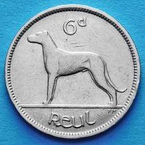 Ирландия 6 пенсов 1935 год. Ирландский волкодав.