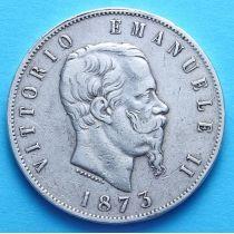 Италия 5 лир 1873 г. Серебро