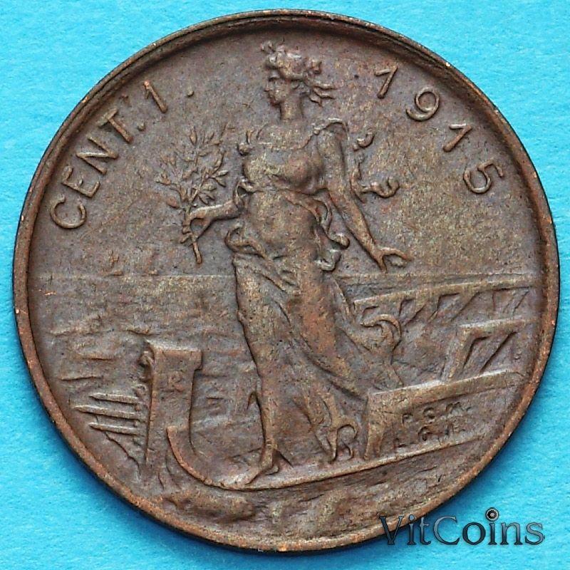 Монета Италии 1 чентезимо 1915 год.