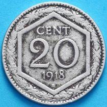 Италия 20 чентезимо 1918 год. Гладкий гурт.