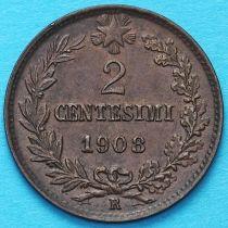 Италия 2 чентезимо 1908 год.